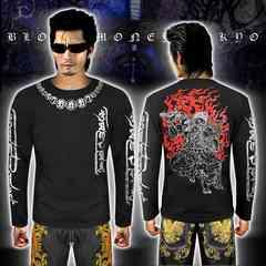 送料無料ヤクザヤンキーオラオラ系長袖ロンTシャツ服/不動明王和柄16029黒銀-L