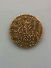 フランス 50ユーロ・セント硬貨 2001年 流通品