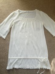ホワイト♪5分袖♪ニットチュニックワンピ♪Lサイズ