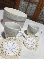 小花柄コーヒーカップ2客新品未使用