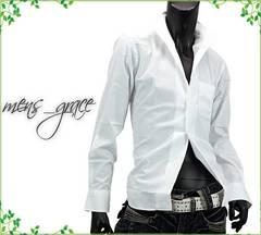 新品 イタリアンカラー 長袖ドレスシャツ 日本製 白ホワイト M