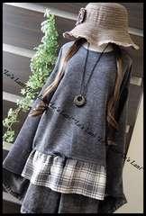 ◆新品◇LL◇裾フリルチェック*ニットプルオーバー♪濃灰a