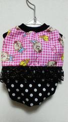 ハンドメイドクマタンTシャツピンク・チェック・黒・フリル・ドット・WC・犬用S