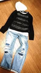萌え袖OK☆薄手・軽量で着膨れナシ!!袖丈長めふんわり透け編みニット
