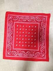 FAST COLOR ファーストカラー ネイティブ柄 バンダナ 赤色×白 ハンカチ スカーフ ストール