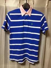 ポロ ラルフローレン ボーダー柄 半袖ポロシャツ Sサイズ150 細身タイト 青+白+ピンク