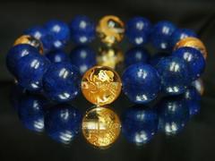 即決価格!!金彫四神獣水晶×ラピスラズリ数珠ブレスレット
