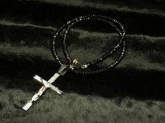 ◆ブラックスタイル◆ロザリオクロス×ブラックスピネル数珠ネックレス