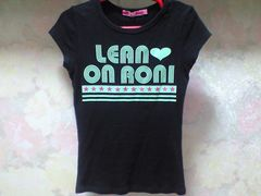 RONIプリントcute星ラメTシャツ黒:M(120〜130)