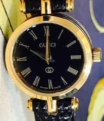 良品グッチGGレディース時計ブラック革ベルト