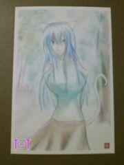 ■自作ポストカード/青髪猫耳少女/日差し