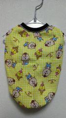 ハンドメイドクマタンTシャツ黄色・チェック・ボーダー・WC・犬用M