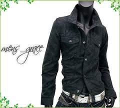新品 Gジャンタイプジャケット ジャガード総柄 黒ブラック M
