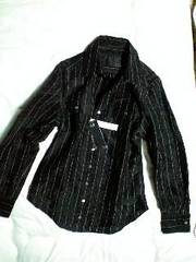 新品roenロエン シワ加工スカルラメストライプドレスシャツ44