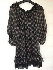 N2m バラ柄 個性的な袖のチュニックワンピ M 黒