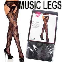 7a5)MusicLegsリボンレースサスペンダーストッキング黒タイツセレブパーティーウエディング
