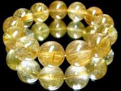 強烈なインパクトを放つ!!!金運天然石タイチンルチル16ミリ数珠ブレス!!
