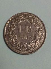 スイス 1フラン硬貨 1968年 流通品