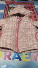1円スタート美品ピンクの毛糸柄風ジャンパー