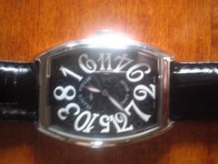 ★正規品フランクミュラー時計でシルバーにクロコ黒革ベルト☆