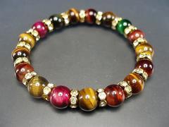 天然石2A+彩色タイガーアイ約10ミリロンデル数珠ブレス