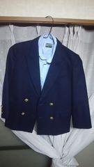 ブレザー(紺色)orブルーのシャツ付き♪110�p?男女用?〜古着