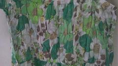 最安送料140円新品レトロガールグリーン花柄キャミワンピースM