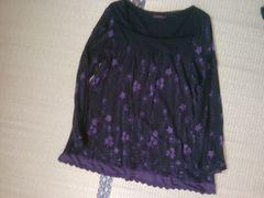 紫花柄 裾レースで おしゃれなチュニック☆