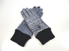 送料無料 レディース ニット 手袋 チェック  LZE113 グレー