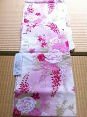 新品モテ浴衣5点セット薄ピンク 下駄、帯、コサージュ即決