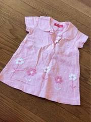 ピンクに白ブロックチェックフリル花刺繍付きシャツワンピ80
