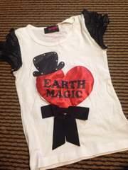 アースマジック・リボン付半袖Tシャツ・白120