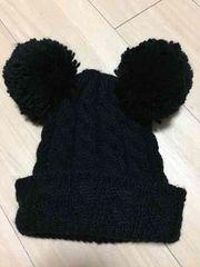 ブラックボンボン耳ニット帽