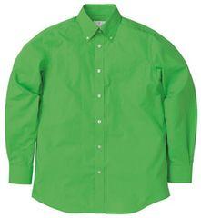 新品 PrintStar ブロード メンズ 長袖シャツ S 黄緑