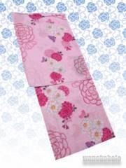 【和の志】女性用変わり織り浴衣◇F◇桃系・菊花◇KW-219