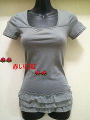 SS〜Sサイズ*細身size裾シホン3段フリル・フレンチ袖Tシャツライトグレー
