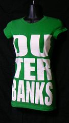 Popular SPORTSプリントTシャツS未使用品OU TER BANKSグリーン