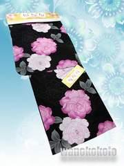 【和の志】女性用浴衣◇Fサイズ◇黒系・バラの花柄◇HOKF-4