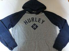 ハーレー【hurley】ロゴプリントプルオーバーパーカーUS L灰x紺