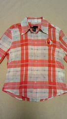 ディーゼル レッド×グレー×ホワイト チェックシャツ