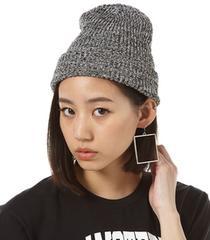 ☆新品☆moussy☆ミックスカラー☆麻素材☆ニットキャップ☆帽子☆ブルー青