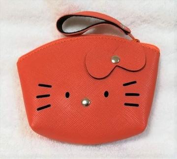 モバオクで買える「キティ★合皮ポーチ★小銭入れ★アーチ型★オレンジ★」の画像です。価格は500円になります。