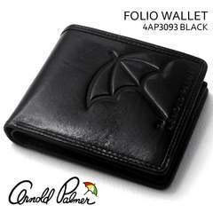 アーノルドパーマー 牛革イタリア製皮革折り財布中ベラ付 BK