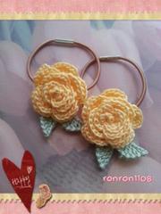 ハンドメイド/手編み♪レース編みお花のヘアゴム2個セット 560