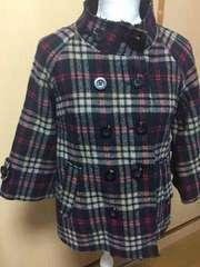 ELLE☆チェックの切りっぱなしデザインジャケット