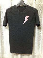 PPFM 稲妻サンダー プリント半袖Tシャツ Sサイズ 細身タイト ストレッチ 黒色 ロック