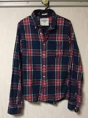 アバクロ チェックシャツ S 紺/赤系