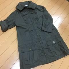 ミリタリーシャツチュニック◆ジャケットにも◆Lカーキ七分袖