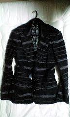 新品ロエン スカル刺繍ボーダーパターンパイルテーラードジャケット46