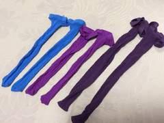 新品未使用網タイツソックスブルー青パープル紫3本セット